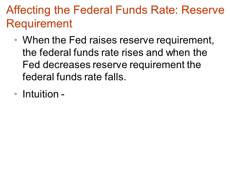 Affecting the Federal Funds Rate: Reserve Requirement