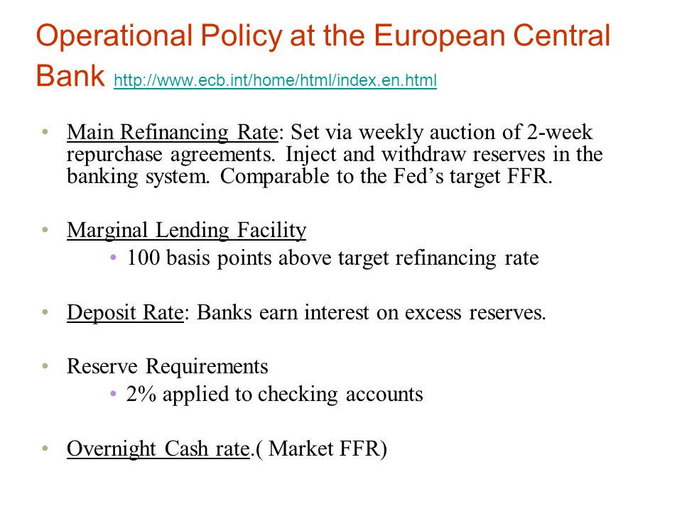 Operational Policy at the European Central Bank http://www. ecb