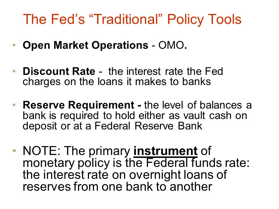The Fed's Traditional Policy Tools