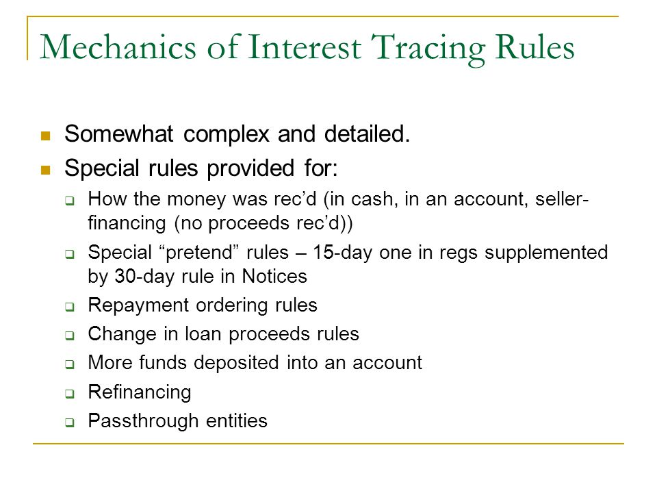 Mechanics of Interest Tracing Rules