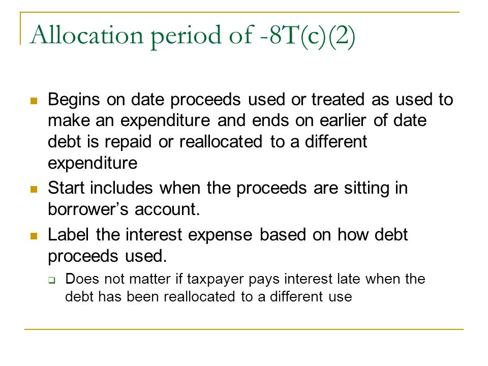 Allocation period of -8T(c)(2)