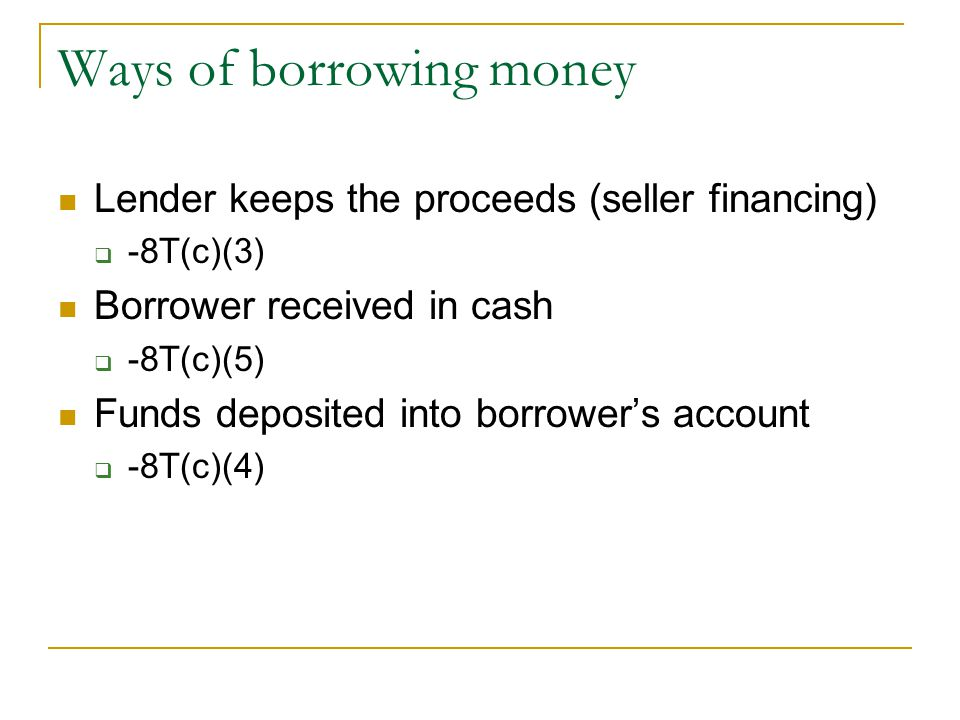 Ways of borrowing money