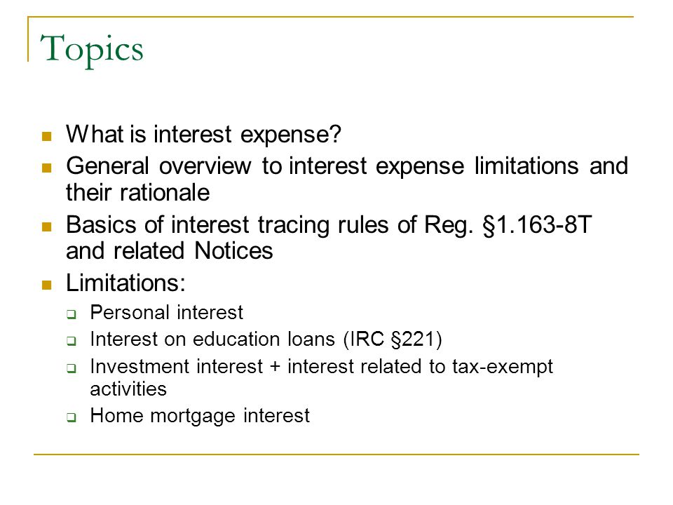 Topics What is interest expense