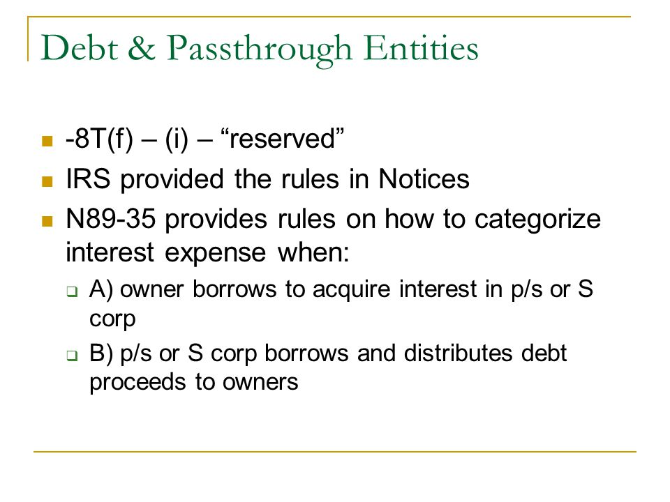 Debt & Passthrough Entities