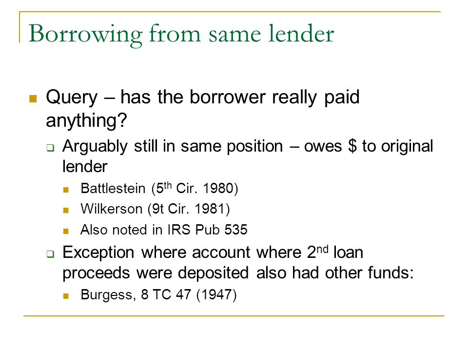 Borrowing from same lender