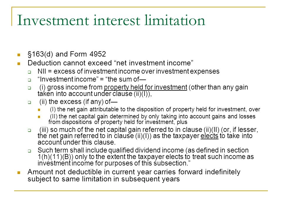 Investment interest limitation