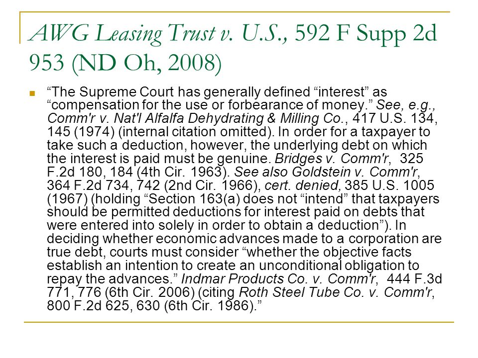 AWG Leasing Trust v. U.S., 592 F Supp 2d 953 (ND Oh, 2008)