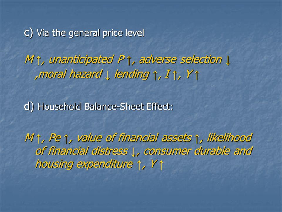 c) Via the general price level