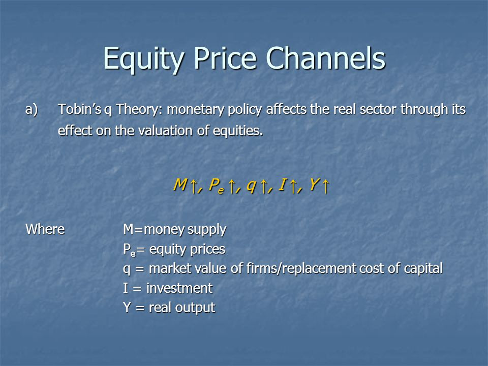 Equity Price Channels M ↑, Pe ↑, q ↑, I ↑, Y ↑