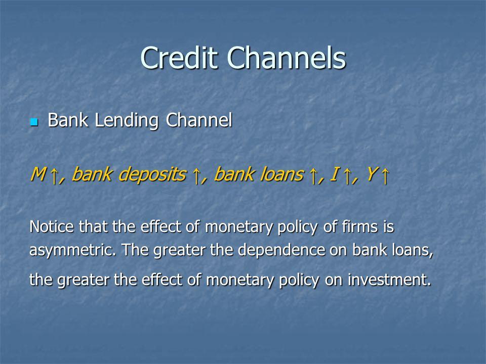 Credit Channels Bank Lending Channel