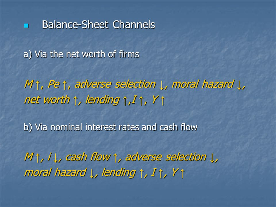 Balance-Sheet Channels