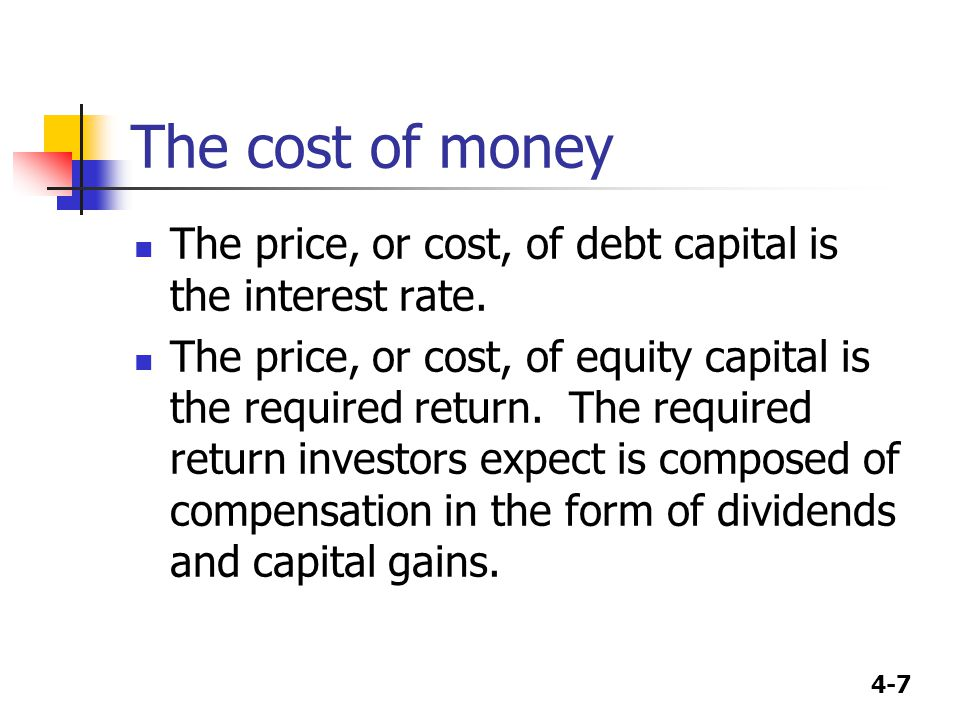 The cost of money The price, or cost, of debt capital is the interest rate.
