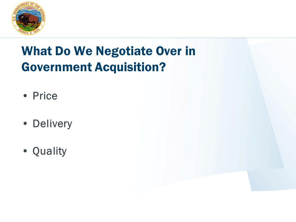 What Do We Negotiate Over in Government Acquisition