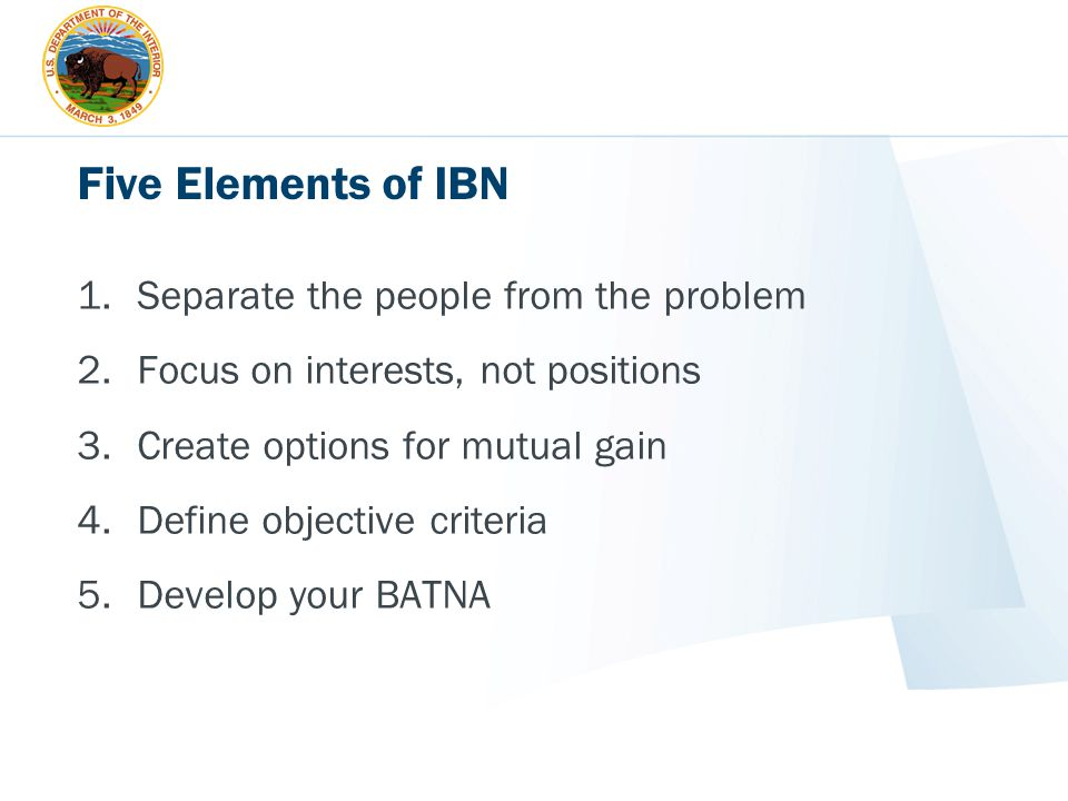 Five Elements of IBN Separate the people from the problem