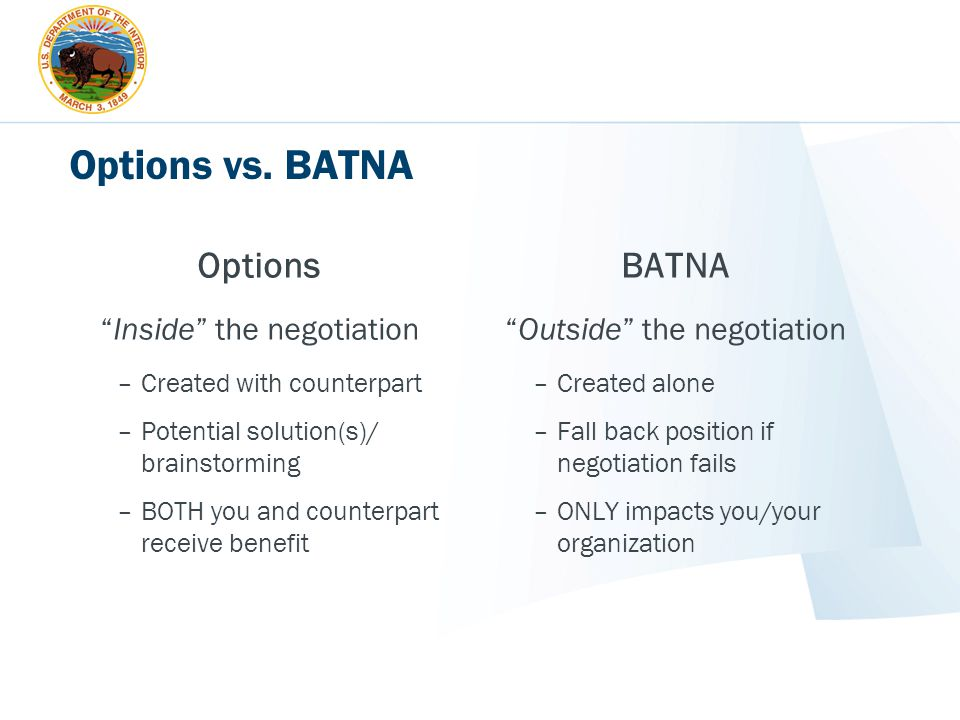 Options vs. BATNA Options BATNA Inside the negotiation