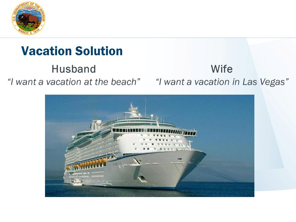 Vacation Solution Husband Wife I want a vacation at the beach