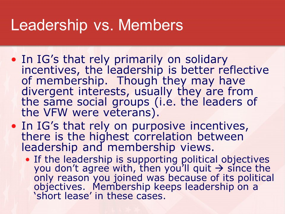 Leadership vs. Members