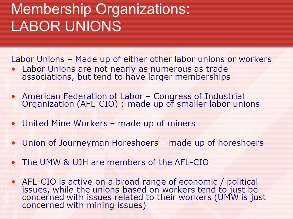 Membership Organizations: LABOR UNIONS