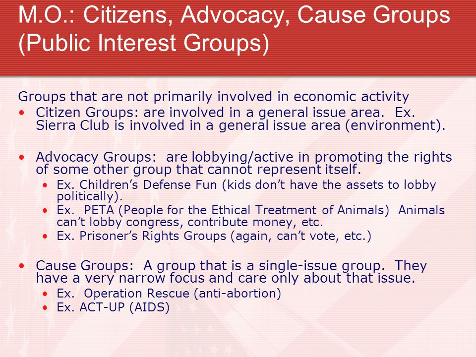 M.O.: Citizens, Advocacy, Cause Groups (Public Interest Groups)