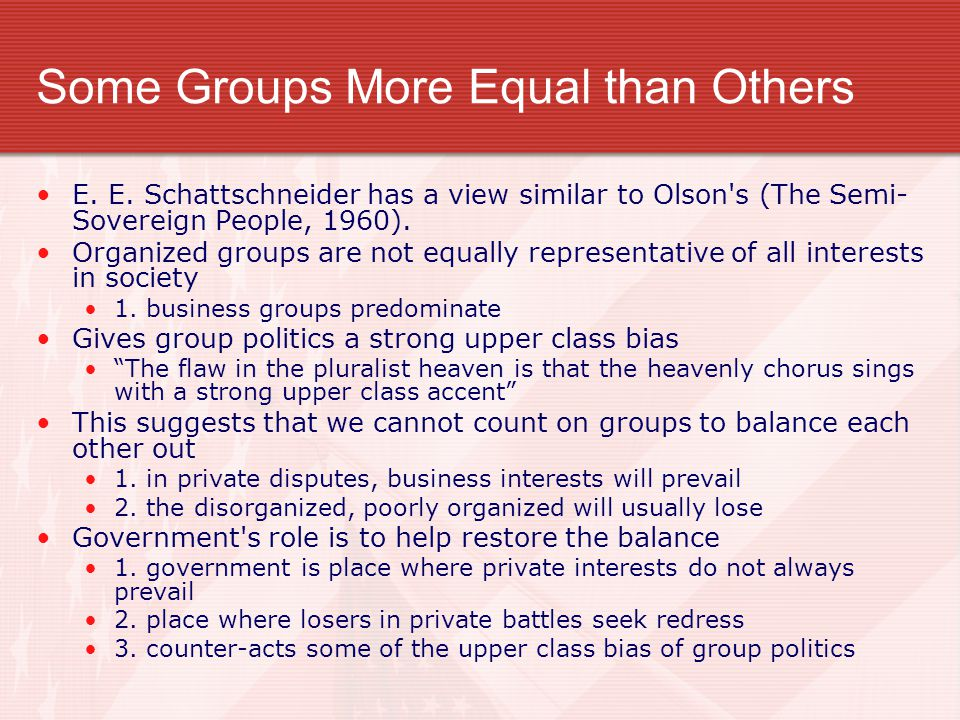 Some Groups More Equal than Others
