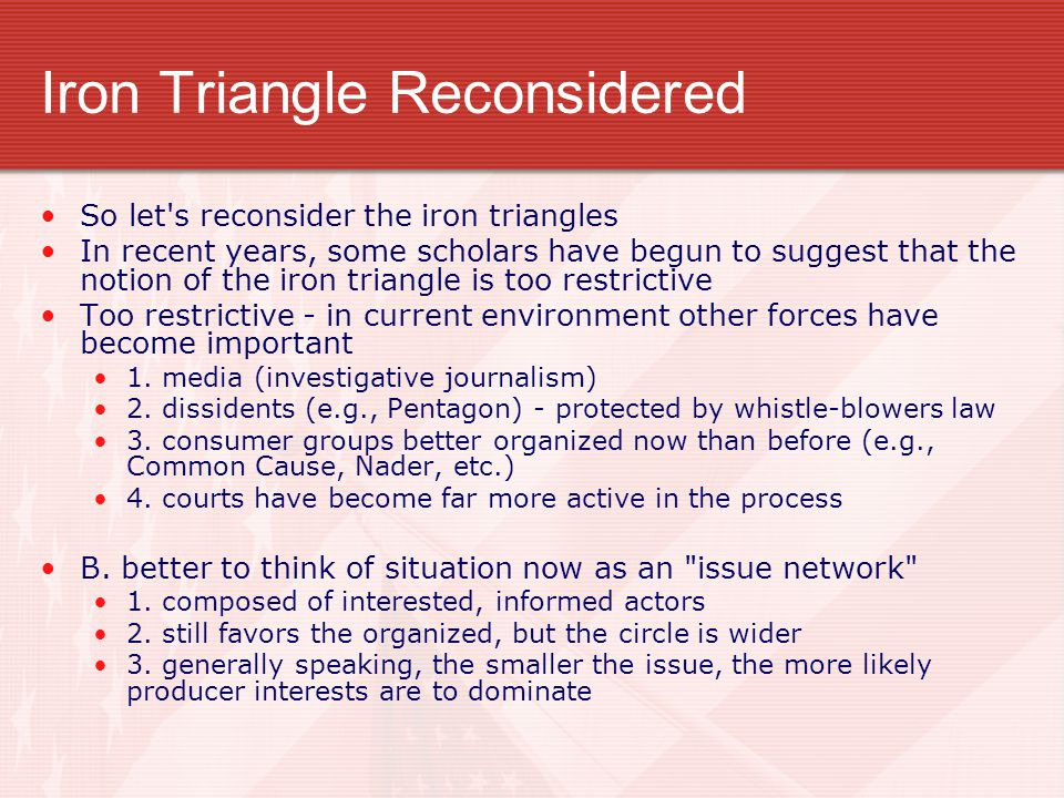Iron Triangle Reconsidered