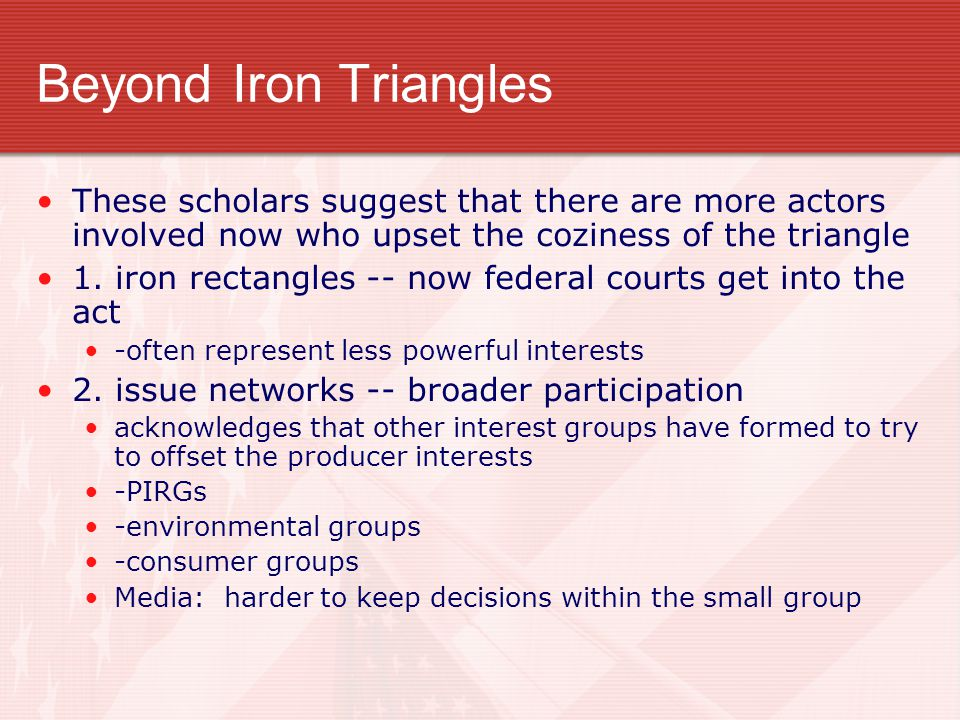 Beyond Iron Triangles These scholars suggest that there are more actors involved now who upset the coziness of the triangle.