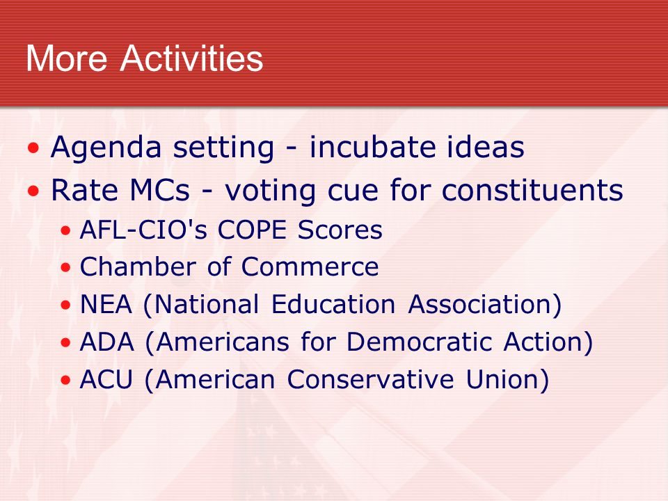 More Activities Agenda setting - incubate ideas