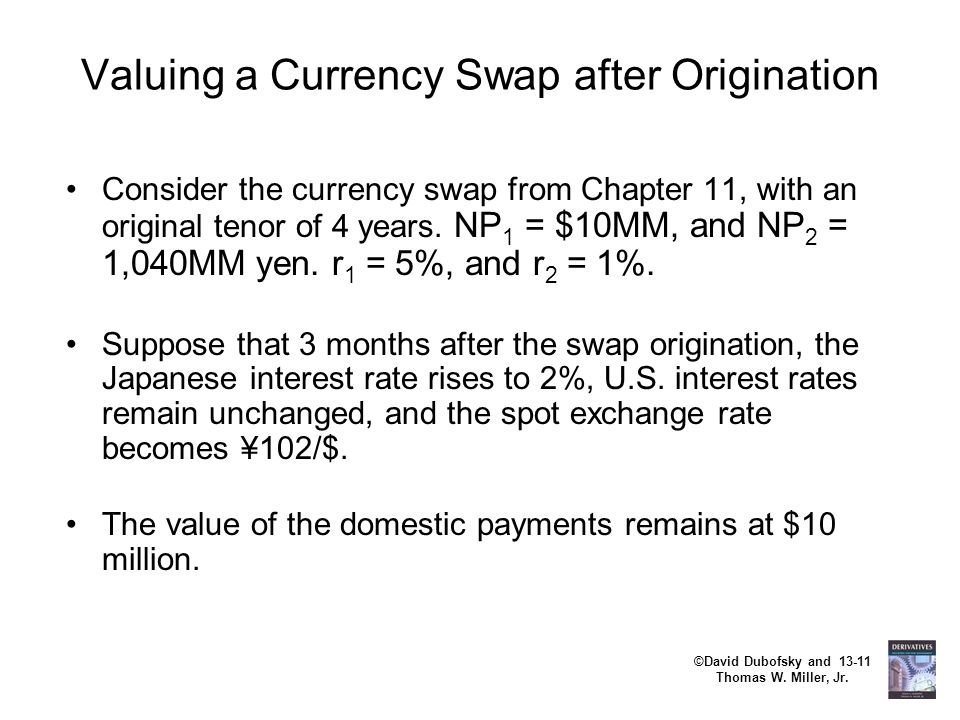 Valuing a Currency Swap after Origination