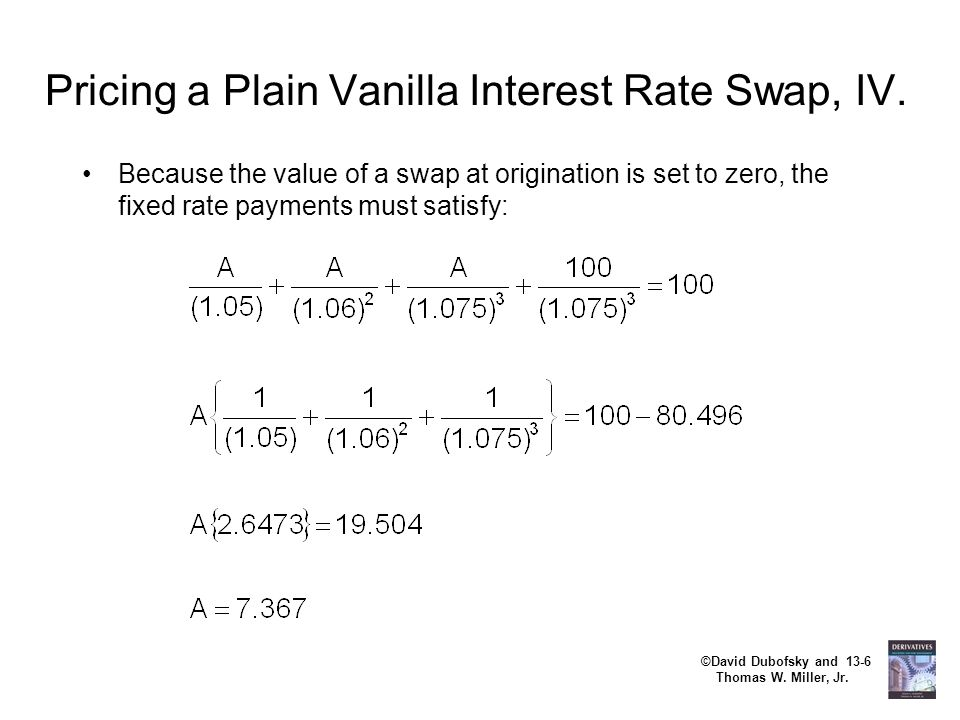 Pricing a Plain Vanilla Interest Rate Swap, IV.