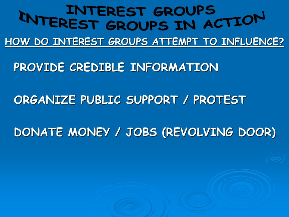 INTEREST GROUPS IN ACTION HOW DO INTEREST GROUPS ATTEMPT TO INFLUENCE