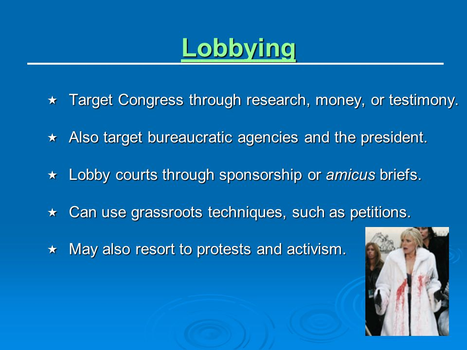 Lobbying Target Congress through research, money, or testimony.