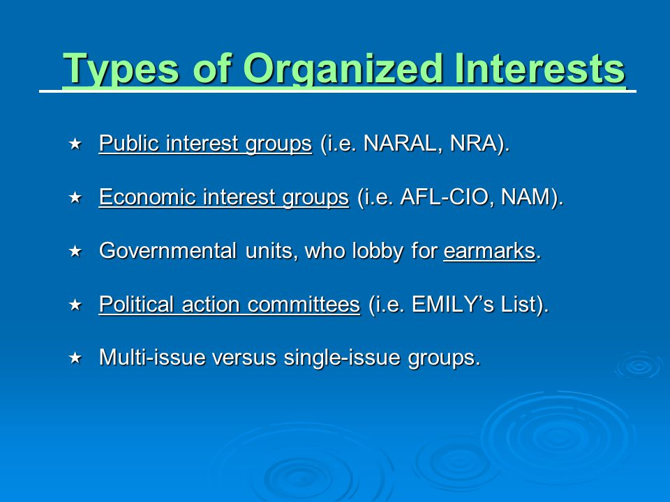 Types of Organized Interests