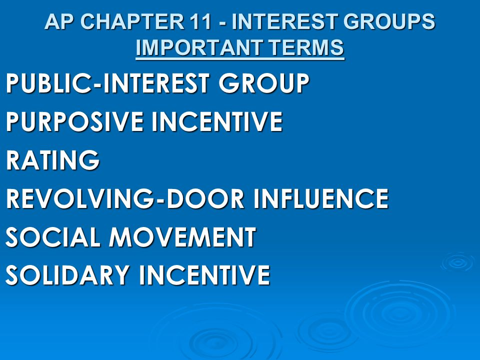 AP CHAPTER 11 - INTEREST GROUPS IMPORTANT TERMS