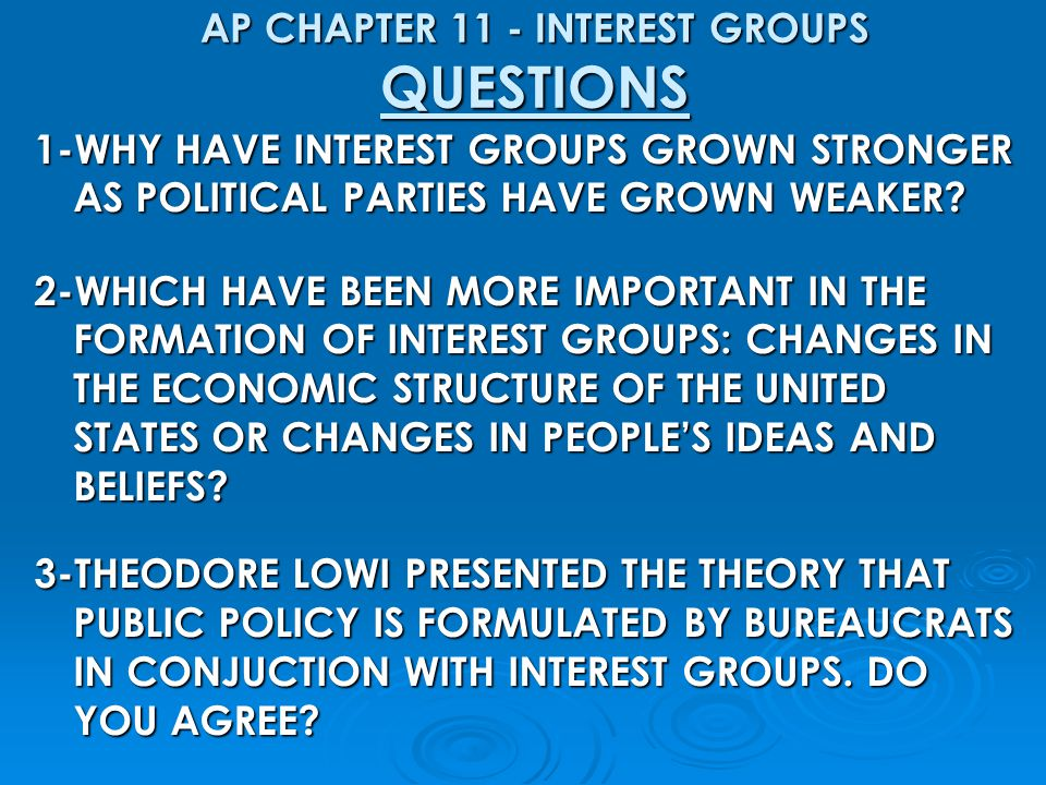 AP CHAPTER 11 - INTEREST GROUPS QUESTIONS