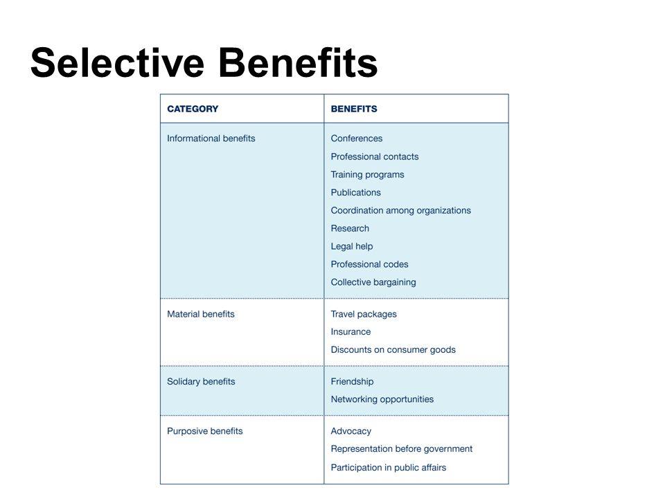 Selective Benefits