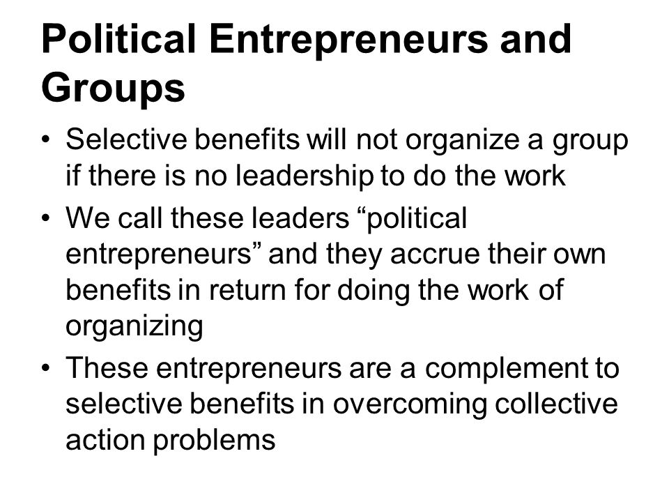 Political Entrepreneurs and Groups