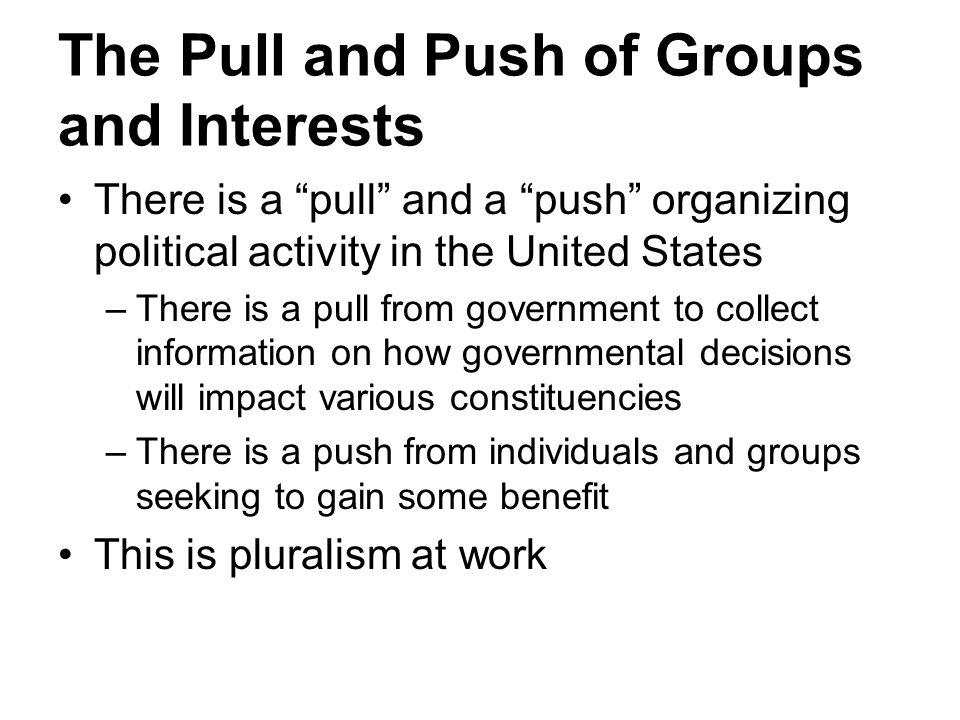 The Pull and Push of Groups and Interests