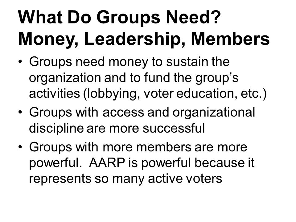 What Do Groups Need Money, Leadership, Members