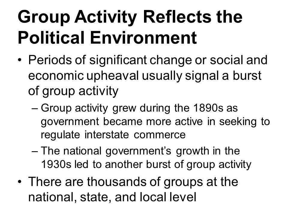 Group Activity Reflects the Political Environment
