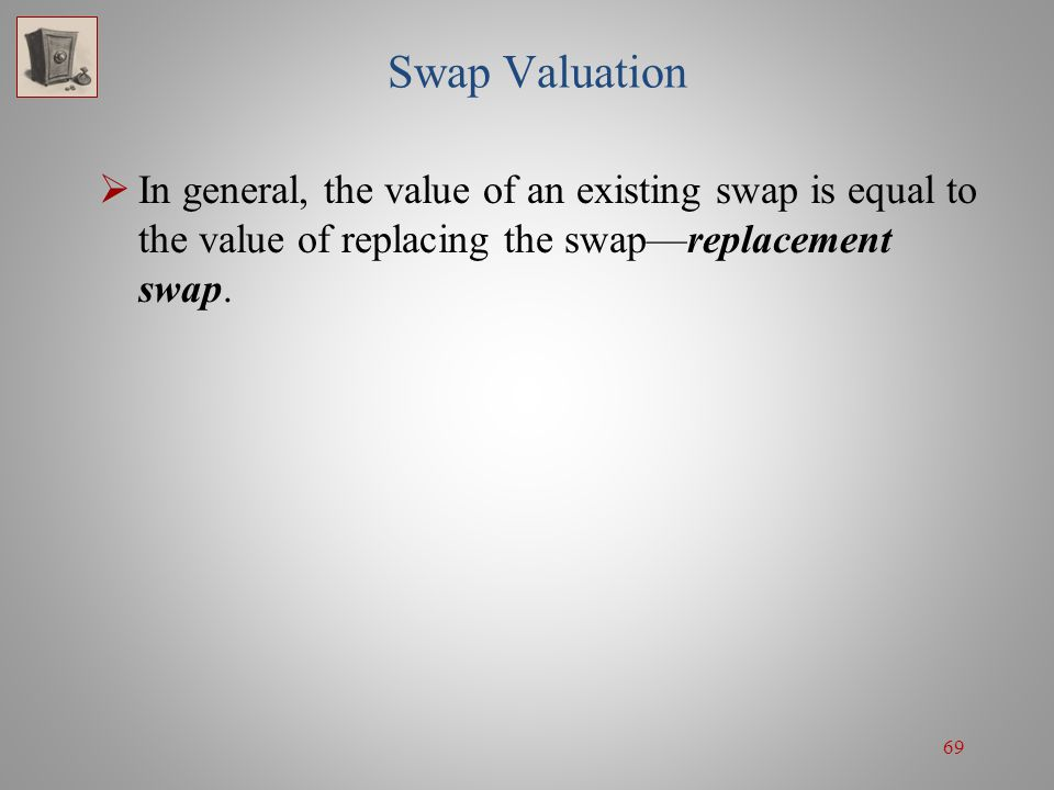Swap Valuation In general, the value of an existing swap is equal to the value of replacing the swap—replacement swap.