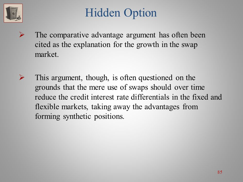 Hidden Option The comparative advantage argument has often been cited as the explanation for the growth in the swap market.