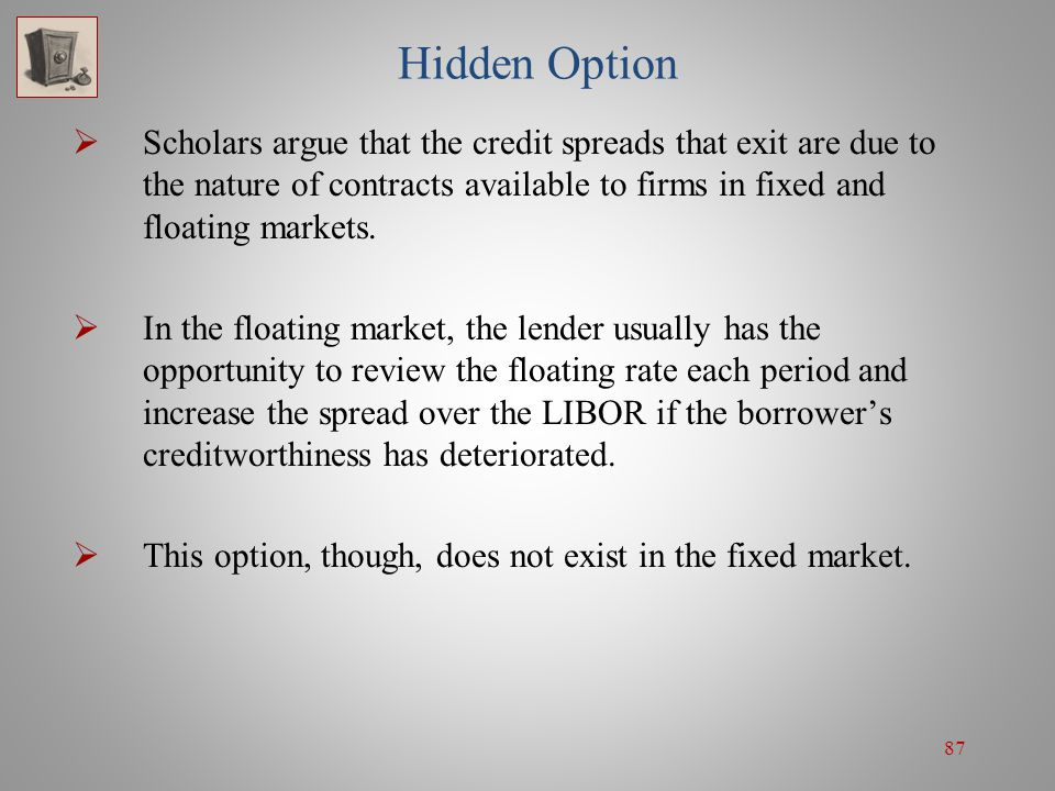 Hidden Option Scholars argue that the credit spreads that exit are due to the nature of contracts available to firms in fixed and floating markets.