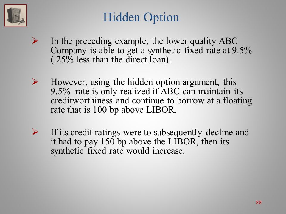 Hidden Option In the preceding example, the lower quality ABC Company is able to get a synthetic fixed rate at 9.5% (.25% less than the direct loan).