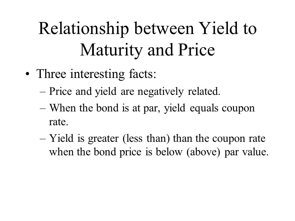 Relationship between Yield to Maturity and Price