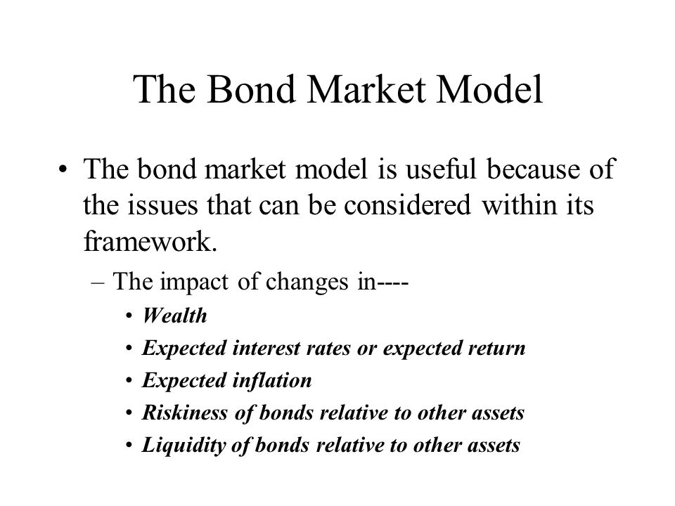 The Bond Market Model The bond market model is useful because of the issues that can be considered within its framework.