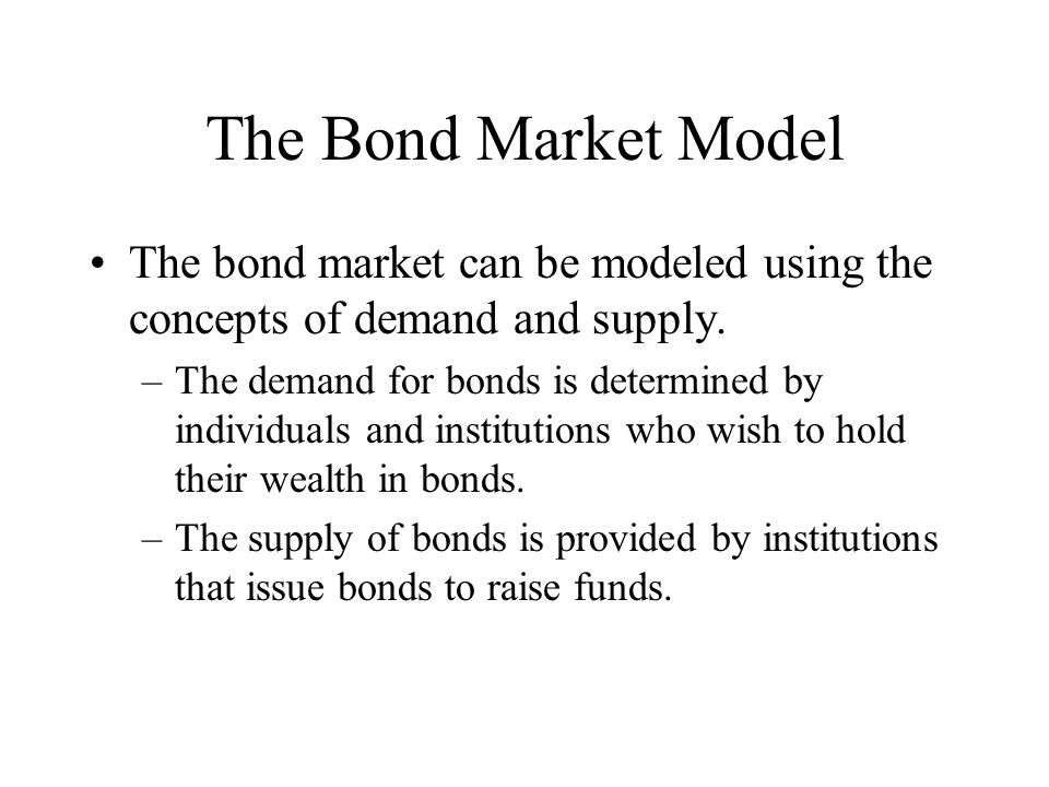 The Bond Market Model The bond market can be modeled using the concepts of demand and supply.