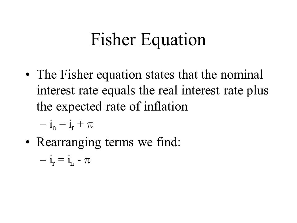 Fisher Equation The Fisher equation states that the nominal interest rate equals the real interest rate plus the expected rate of inflation.