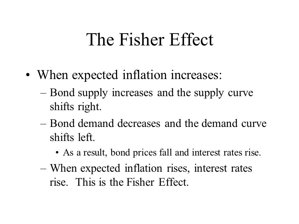 The Fisher Effect When expected inflation increases: