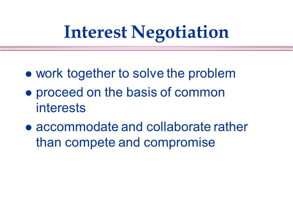 Interest Negotiation work together to solve the problem