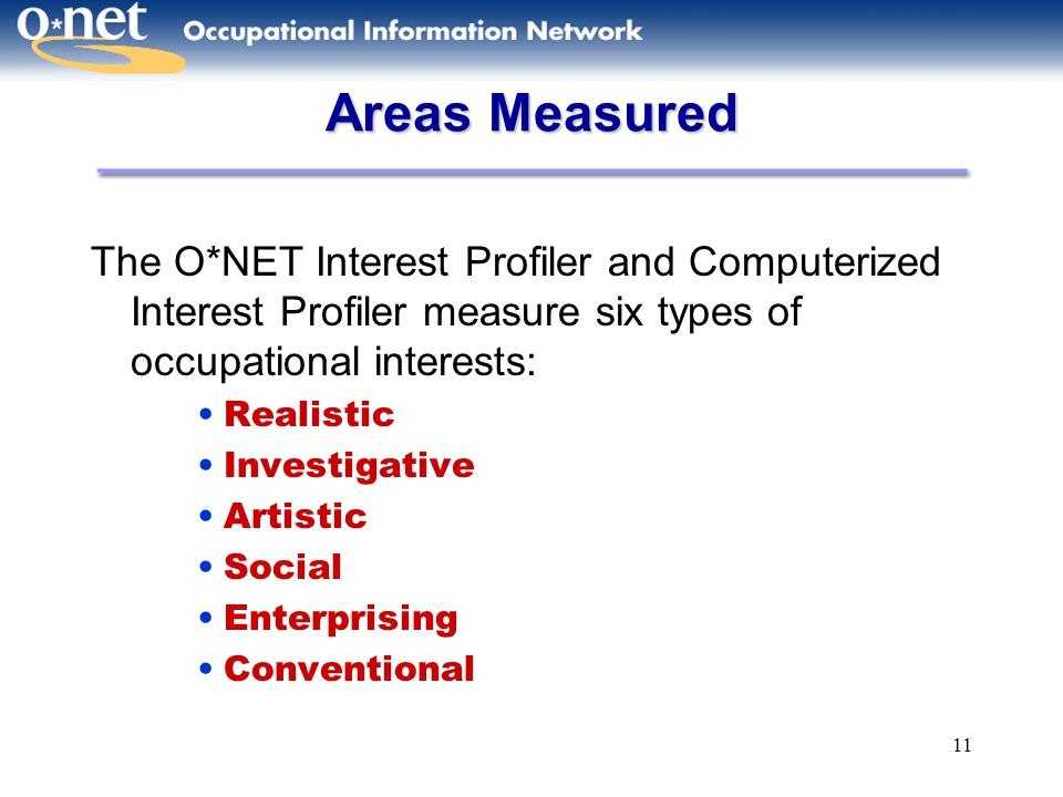 Areas Measured The O*NET Interest Profiler and Computerized Interest Profiler measure six types of occupational interests: